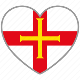 country, flag, flag heart, guernsey, love, nation icon