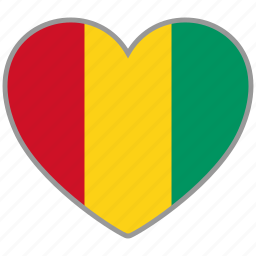 country, flag, flag heart, guinea, love icon