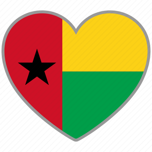 country, flag, flag heart, guinea bissau, love icon