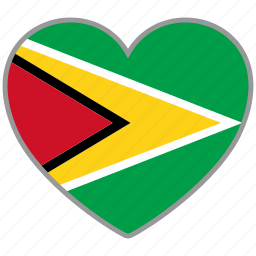 country, flag, flag heart, guyana, love icon