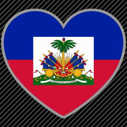 country, flag, flag heart, haiti, love icon