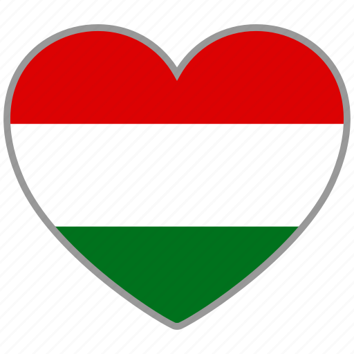 country, flag, flag heart, hungary, love icon