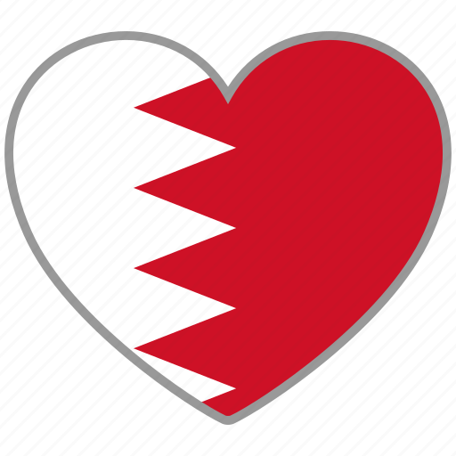 bahrain, country, flag, flag heart, love icon