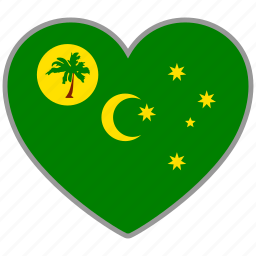cocos island, flag, flag heart, love, nation icon