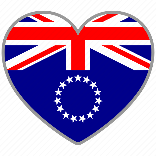 cook island, country, flag, flag heart, love icon