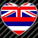country, flag, flag heart, hawaii, love icon