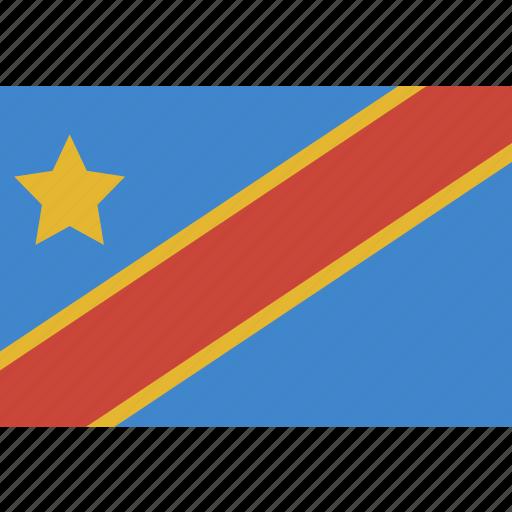 congo, democratic, rectangle, republic icon