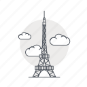 eiffel, france, landmark, monument, paris, tower icon
