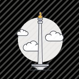 indonesia, jakarta, landmark, monas, monument, tower icon