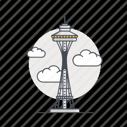 landmark, monument, needle, space, space needle, tower icon