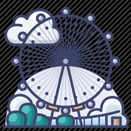 eye, ferris, landmark, london, wheel icon
