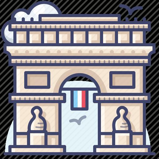 arc de france, landmark, paris, triomphe icon