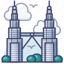 malaysia, petronas, towers, twin icon