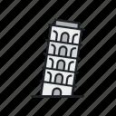 italy, landmark, pisa, sight, tourism, tower icon