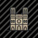 building, cathedral, france, landmark, notre dame, paris, sight icon