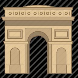 arc, gate, landmark, paris, travel, triomphe, wonder icon