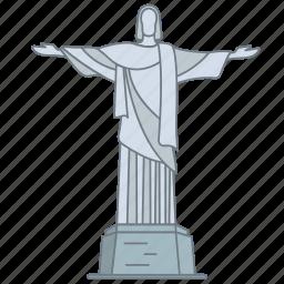 brazil, christ, landmark, redeemer, statue, travel, wonder icon