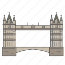 bridge, landmark, london, thames, tower, travel, wonder icon