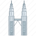 building, landmark, malaysiya, petronas, tower, travel, wonder icon