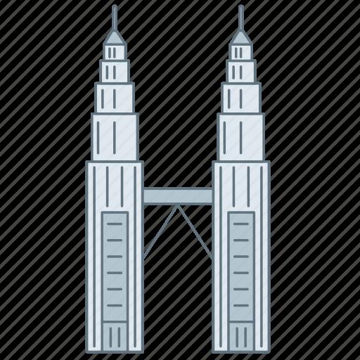 building, landmark, malaysiya, petronas, tower, travel, wonder icon