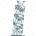 europe, italy, landmark, pisa, tower, travel, wonder icon