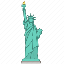 architecture, landmark, liberty, new york, statue, travel, wonder icon