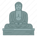 buddha, great, japan, kamakura, landmark, travel, wonder icon