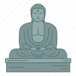 buddha, great, japan, kamakura, landmark, travel, wonder icon