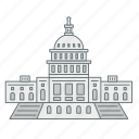 america, capitol, house, landmark, president, washington, white icon