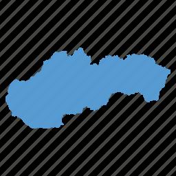 country, european, map, navigation, slovakia, slovakian icon