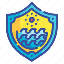 shield, ocean, sea, waves, protection