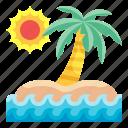 island, beach, sun, nature, landscape