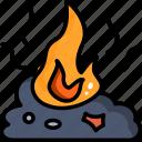 burn, fire, garbage, ash, pollution, smoke icon