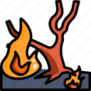 burn, fire, forest, pollution, smoke, tree icon