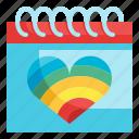 calendar, heart, event, wedding, rainbow