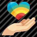 hand, give, lgbt, heart, love