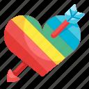 heart, love, rainbow, festival, arrow