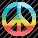 peace, hippy, circular, symbol, sign