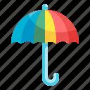 umbrella, rainy, protection, weather, rainbow