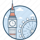 big ben, ferris, london, london eye, millennium icon