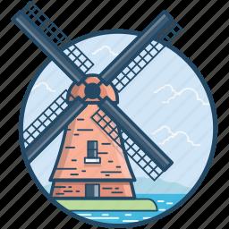 amsterdam, de molen van sloten, kinderdijk, molen van sloten, netherlands kinderdijk icon