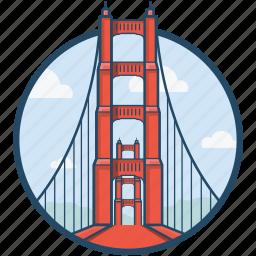 america, golden gate, golden gate bridge, san francisco, united states icon