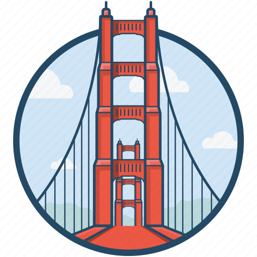 america, golden gate, golden gate bridge, san francisco, united states icon