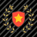 award, garland, laurel, shield, wreath icon