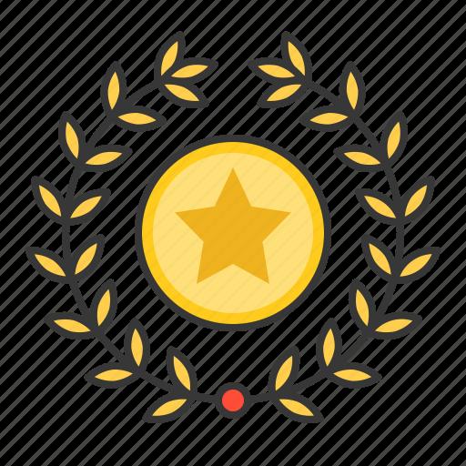 award, garland, laurel, star, wreath icon