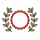 award, badge, garland, laurel, wreath icon