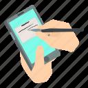 hand, isometric, object, phone, screen, smartphone, write