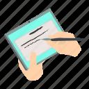 finger, hand, hold, isometric, object, tablet, write