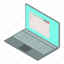 computer, isometric, laptop, notebook, object, pc, screen