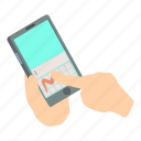 hand, isometric, object, phone, screen, smartphone, touch